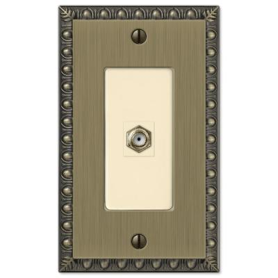 Antiquity 1 Gang Coax Metal Wall Plate - Brushed Brass