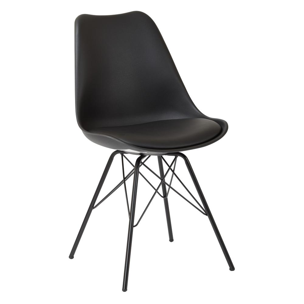 Emerson Black Side Chair with 4-Leg Base (2 per Pack)