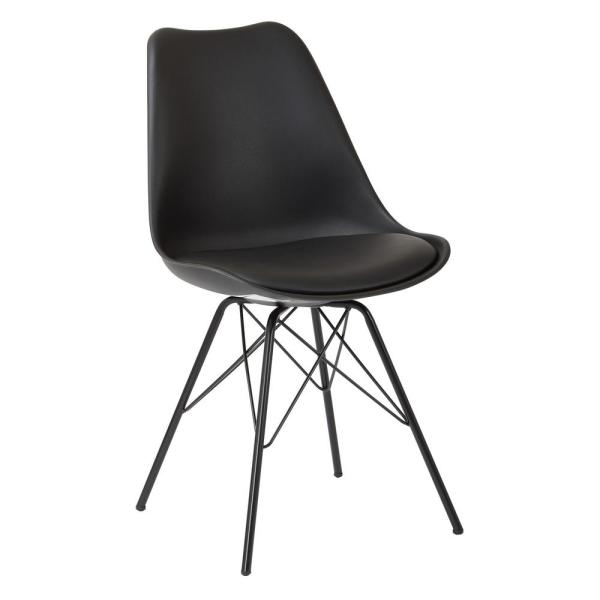 OSP Home Furnishings Emerson Black Side Chair with 4-Leg Base (2