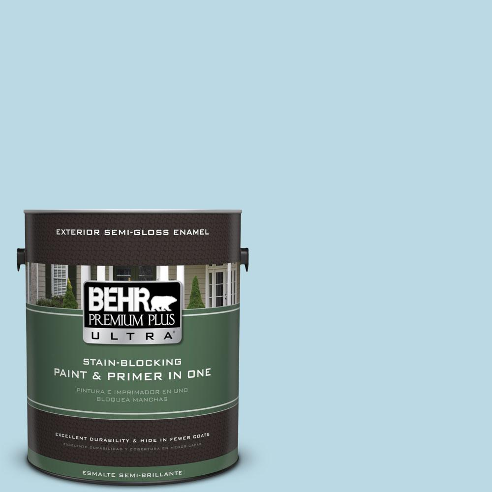BEHR Premium Plus Ultra 1-gal. #S460-1 Air Blue Semi-Gloss Enamel Exterior Paint