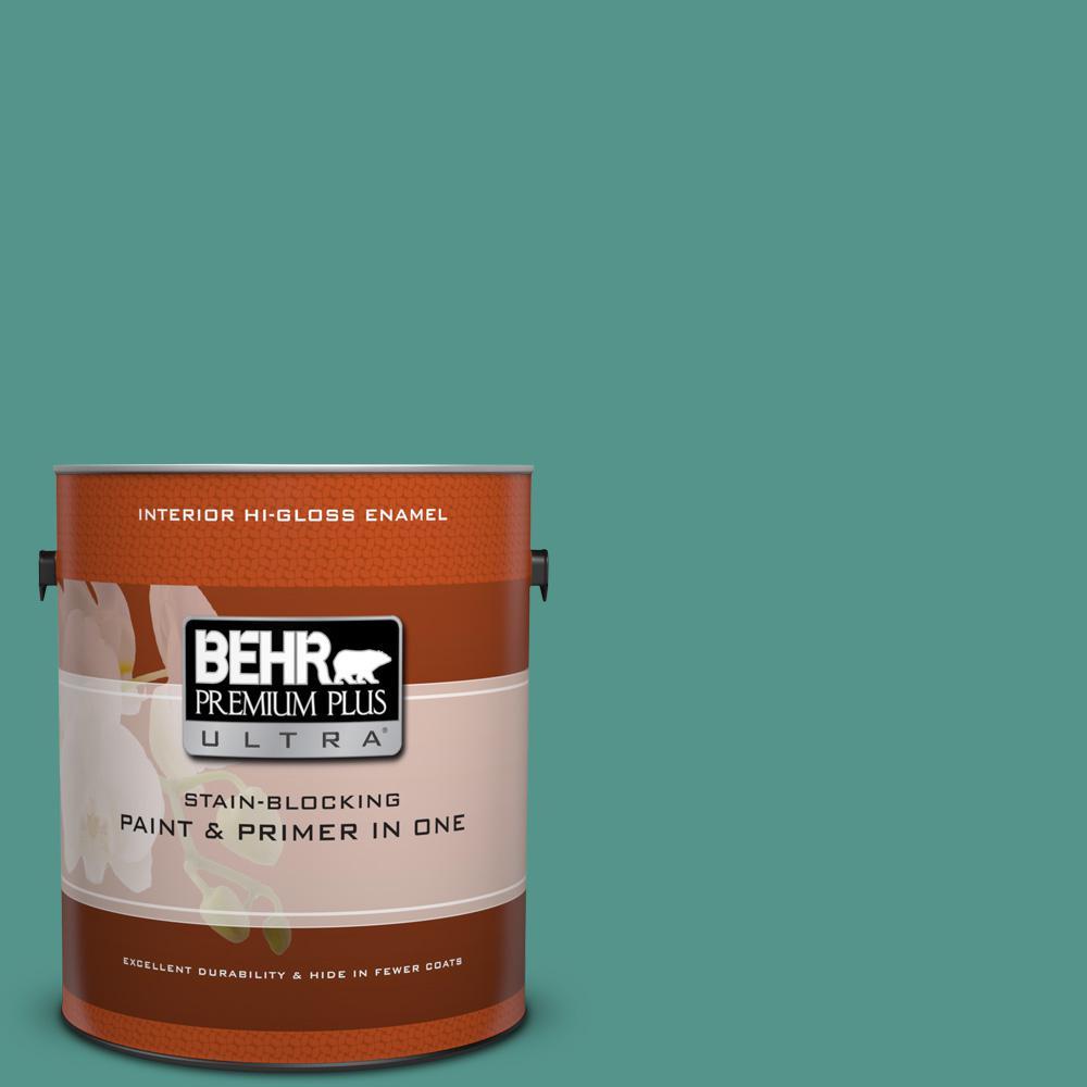 BEHR Premium Plus Ultra 1 gal. #BIC-25 Spring Sprig Hi-Gloss Enamel ...