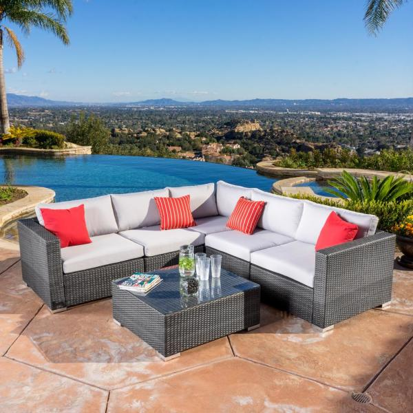 Noble House Santa Rosa Grey 6-Piece Wicker Outdoor Sectional Set with Silver Gray Cushions