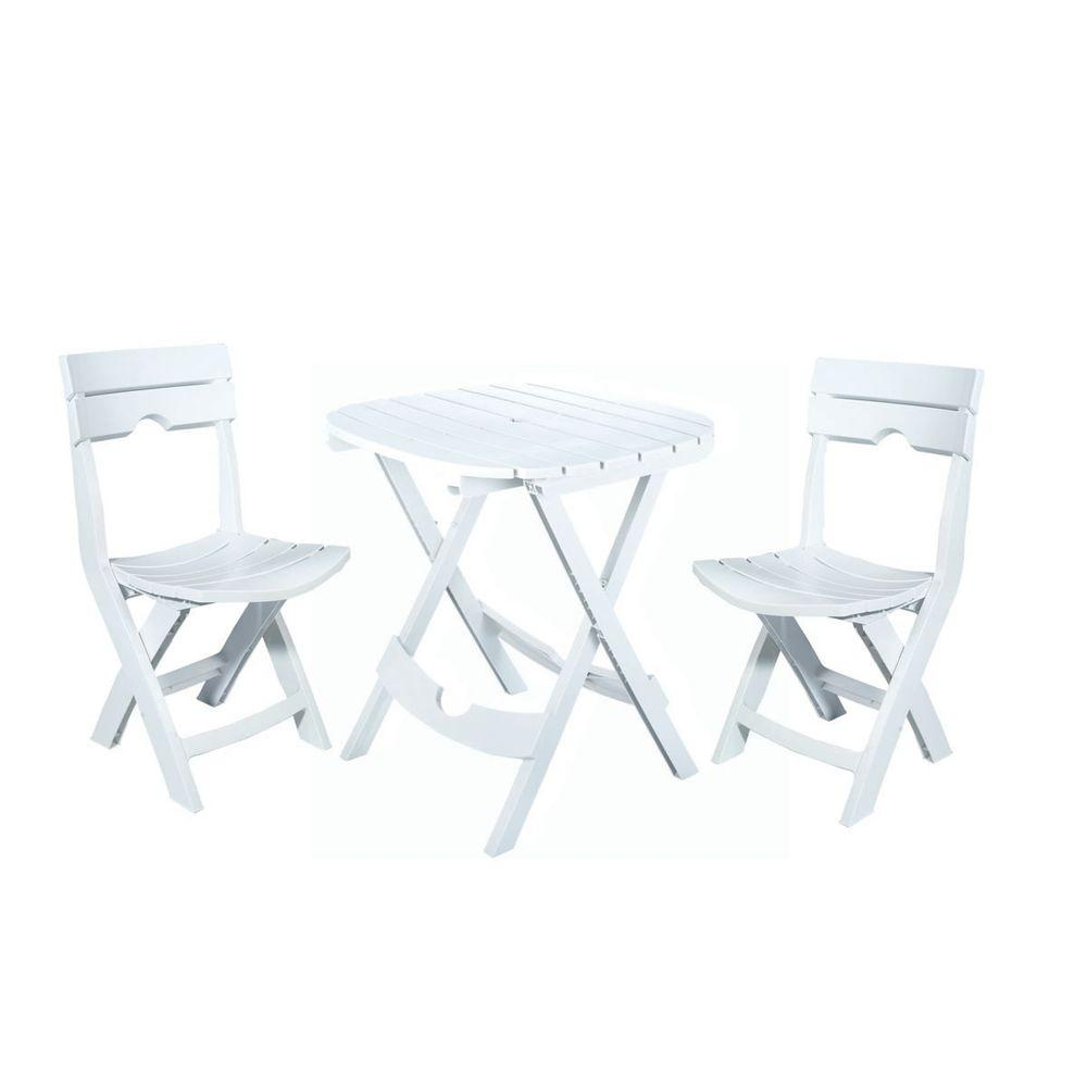 Adams Manufacturing Quik-Fold White 3-Piece Resin Plastic Outdoor