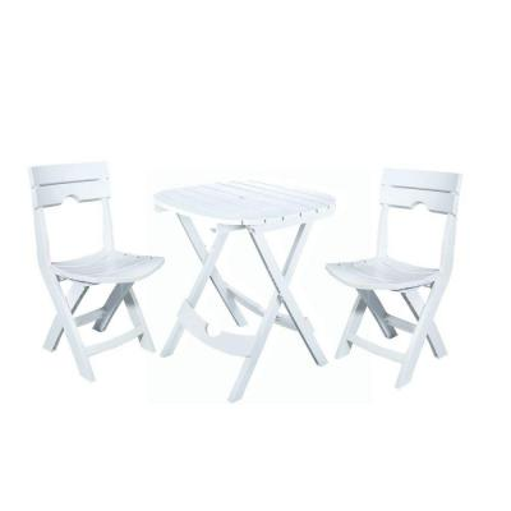 Quik-Fold White 3-Piece Resin Plastic Outdoor Bistro Cafe Set