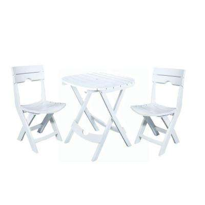 Quik-Fold White 3-Piece Resin Plastic Outdoor Bistro Cafe Set