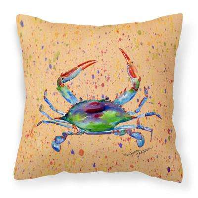 14 in. x 14 in. Multi-Color Lumbar Outdoor Throw Pillow Crab Decorative Canvas Fabric Pillow