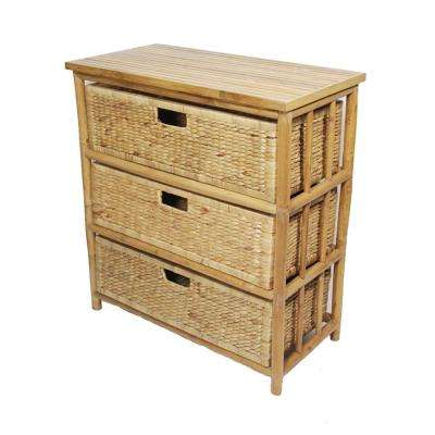 Shelly Assembled 29 in. x 29 in. x 14.25 in. Natural Bamboo Open Sided Storage Cabinet with 3 Baskets