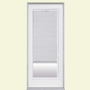 Premium Full Lite Left Hand Inswing Mini Blind Primed Steel Prehung Front Door with Brickmold-31285 - The Home Depot & Masonite 32 in. x 80 in. Premium Full Lite Left Hand Inswing Mini ...