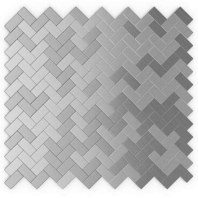 Earl Grey Stainless 12.09 in. x 11.65 in x 5mm Brushed Metal Self-Adhesive Wall Mosaic Tile (11.76 sq. ft. /case)