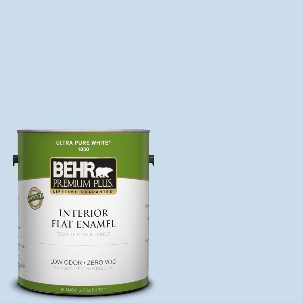 BEHR Premium Plus 1-gal. #560C-2 Caribbean Mist Zero VOC Flat Enamel Interior Paint-DISCONTINUED