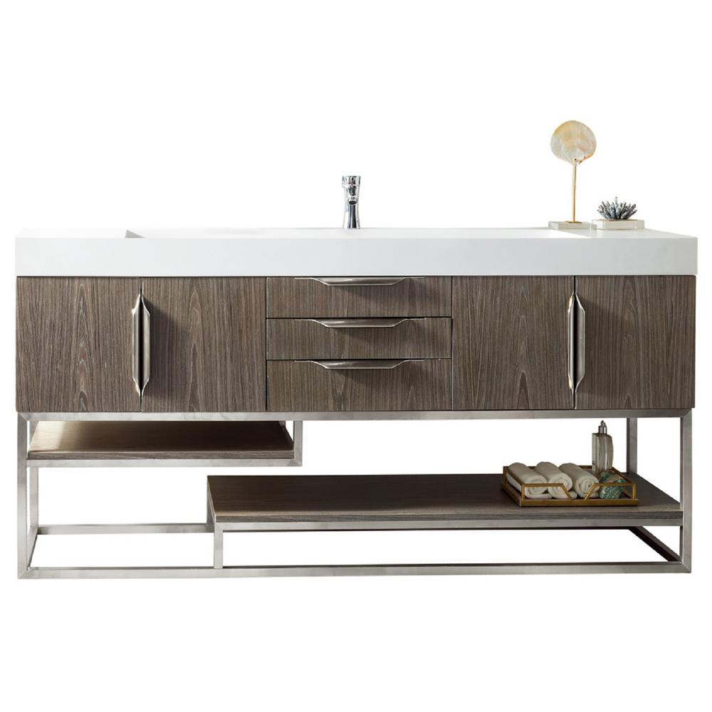 James Martin Vanities Columbia 72 in. W Single Bath Vanity in Ash Gray-Nickle with Solid Surface Vanity Top in Matte White with White Basin