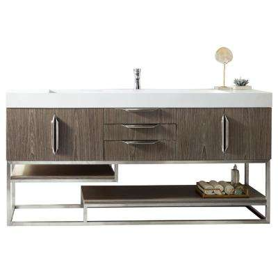 Columbia 72-in W Single Vanity in Ash Gray-Nickle with Solid Surface Vanity Top in Matte White with White Basin