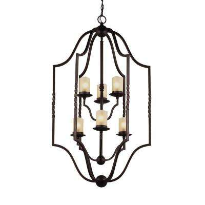 Trempealeau 6-Light Roman Bronze Indoor Pendant with Glass Shades