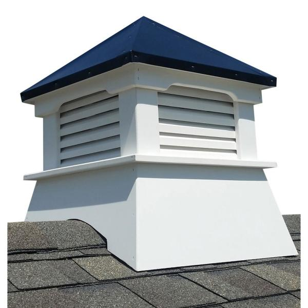 Bryce 20 in. x 20 in. x 26 in. Composite Vinyl Cupola with Black Aluminum Roof