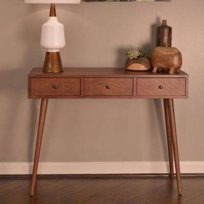 Mid Century Walnut 3 Drawer Console Table
