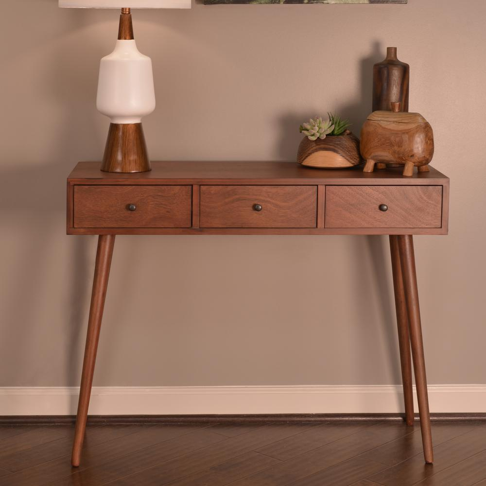 Decor Therapy Mid Century Walnut 3-Drawer Console Table FR6323 - The ...
