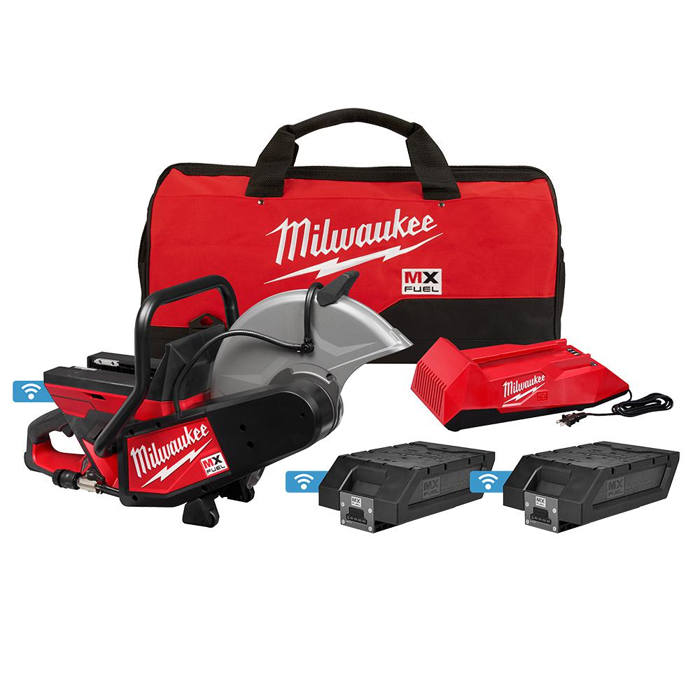 Milwaukee MX FUEL Lithium-Ion Cordless 14 in. Cut Off Saw Concrete Kit with (2) Batteries and Charger