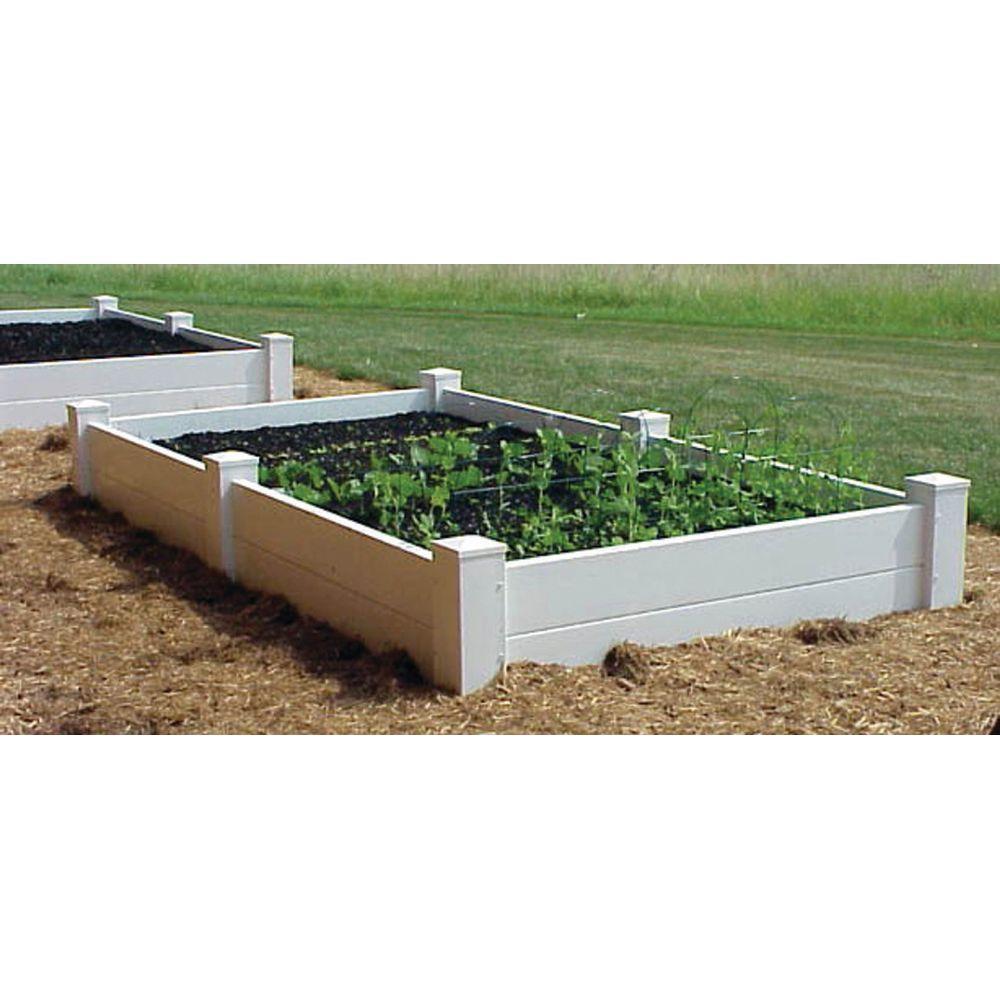 48 in. x 48 in. x 14 in. H White Vinyl 2-Level Raised Garden Bed Bed