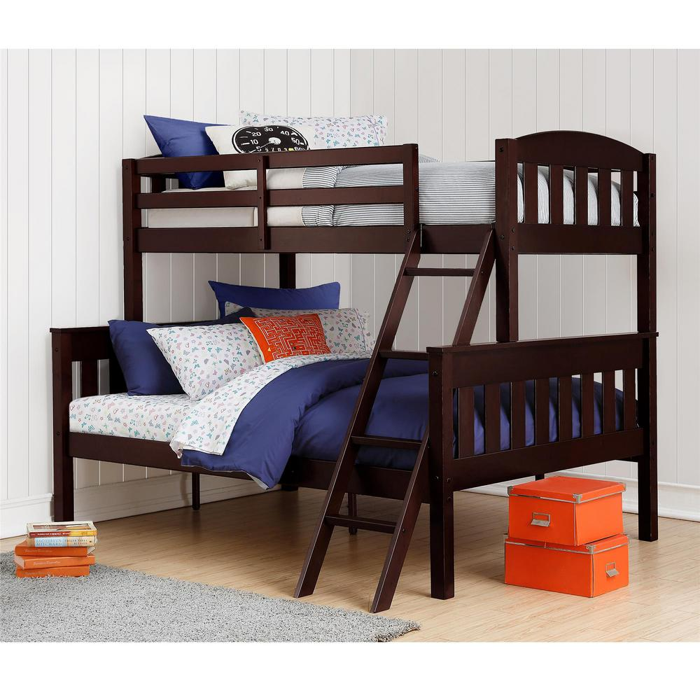 Dorel Living Airlie Twin Over Full Espresso Wood Bunk Bed Fa7499e