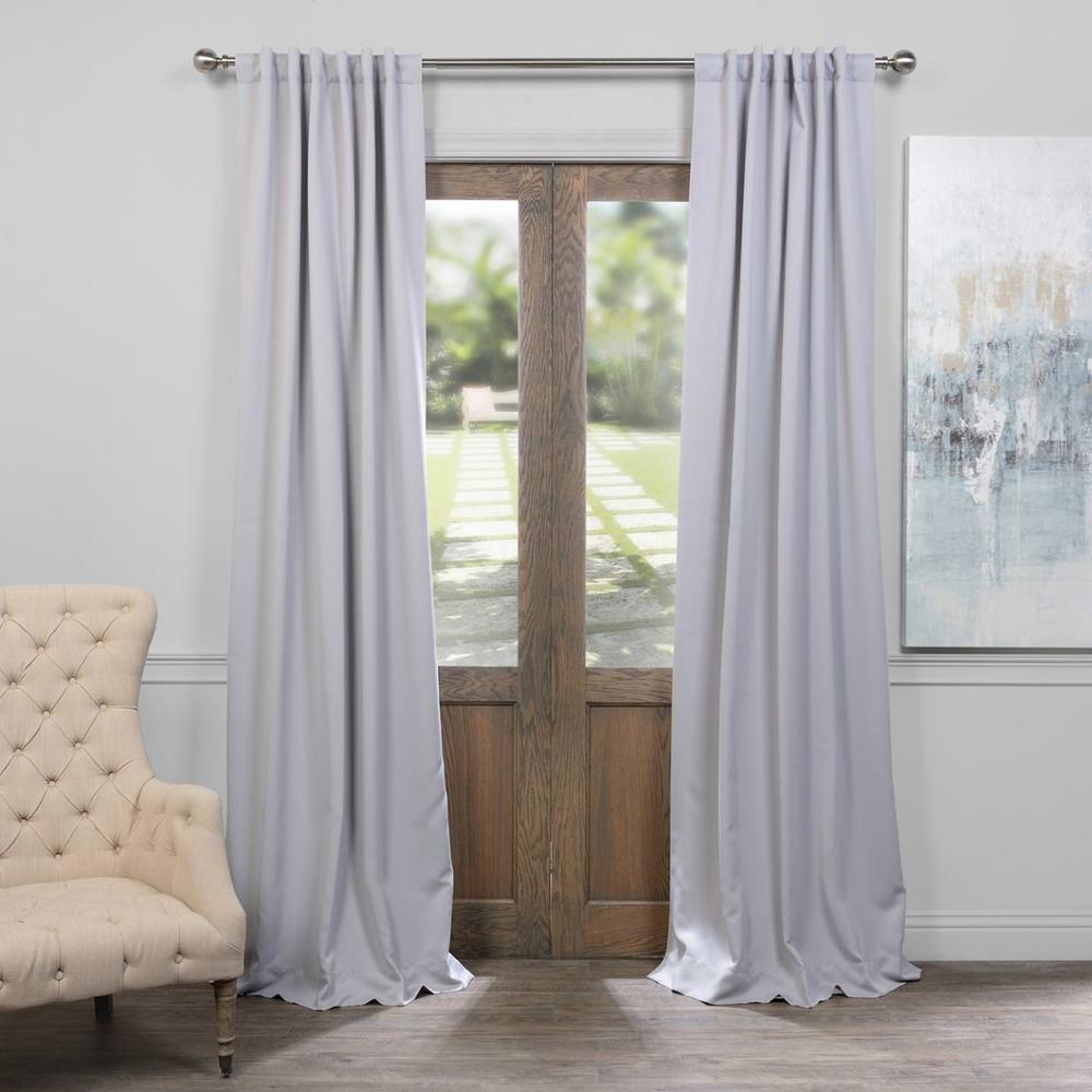 Exclusive Fabrics Furnishings Semi Opaque Fog Grey Blackout Curtain 50 In W