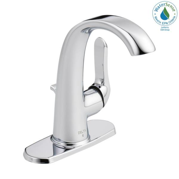 Delta Soline Single Hole Single Handle Bathroom Faucet In Chrome 15714lf Eco The Home Depot