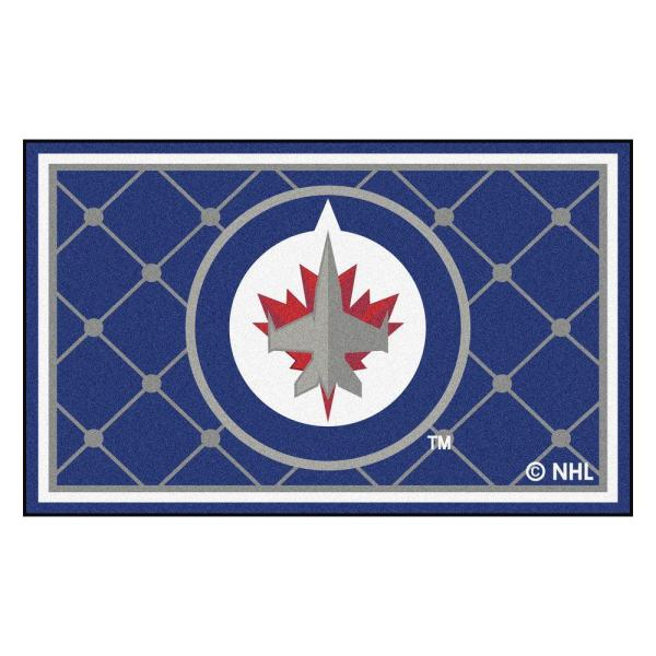 NHL Winnipeg Jets Blue 4 ft. x 6 ft. Indoor Area Rug