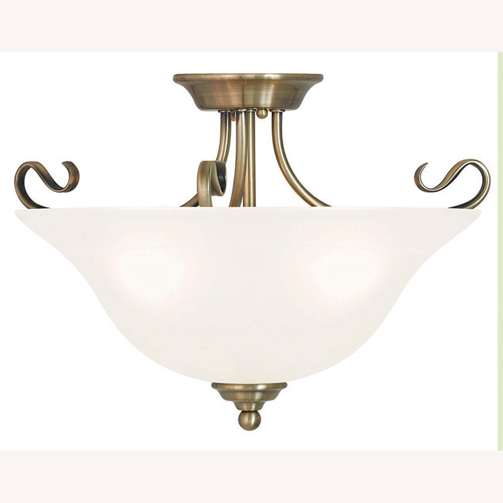 Coronado 3-Light Antique Brass Flushmount