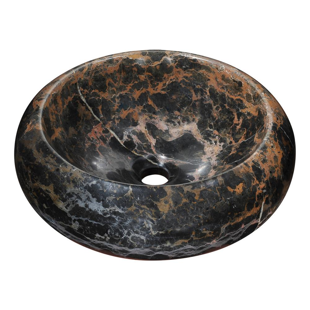 ANZZI Mantle Crest Natural Stone Vessel Sink In Portoro Marble