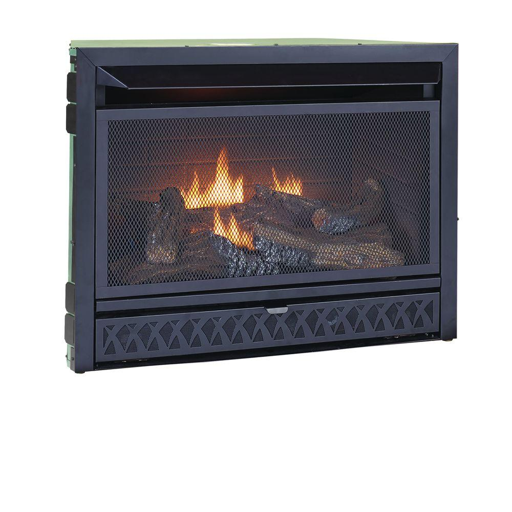 26,000 BTU Unvented Log Set Dual Fuel (NG and LP) Thermostat