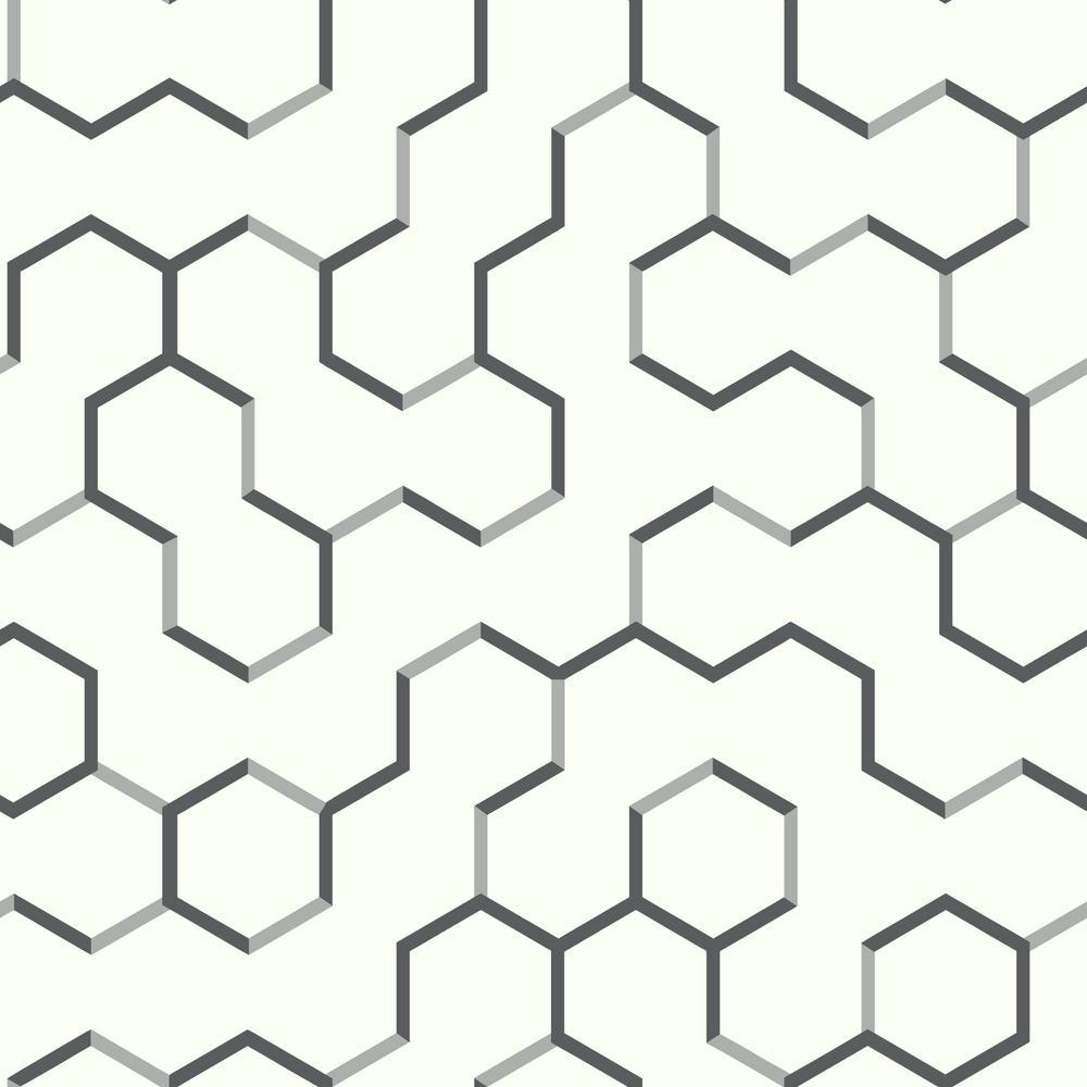 28.18 sq. ft. Grey Open Geometric Peel and Stick Wallpaper