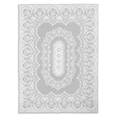 Filigree Rectangle White Polyester Tablecloth