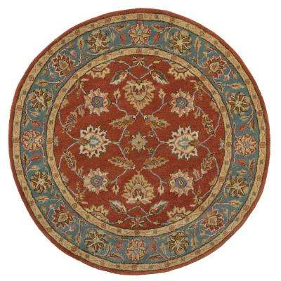 Old London Terra/Blue 6 ft. x 6 ft. Round Area Rug