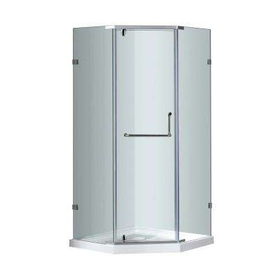 SEN973 38 in. x 38 in. x 77-1/2 in. Semi-Frameless Neo-Angle Shower Enclosure in Chrome with Base