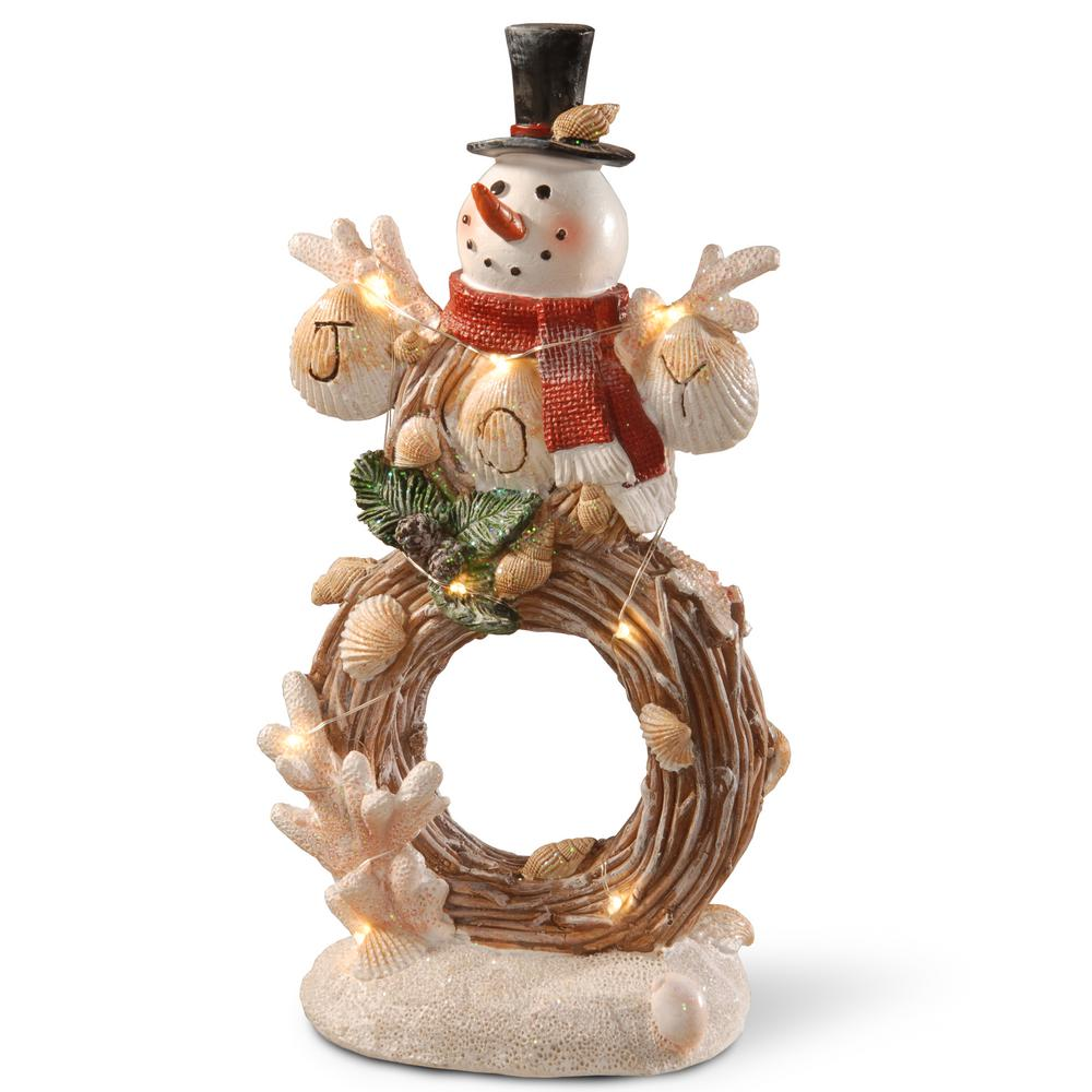 11 in. Lighted Holiday Snowman Decor
