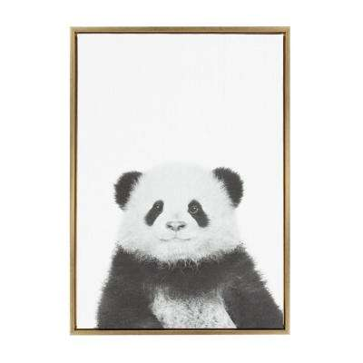 "33 in. x 23 in. ""Panda"" by Tai Prints Framed Canvas Wall Art"