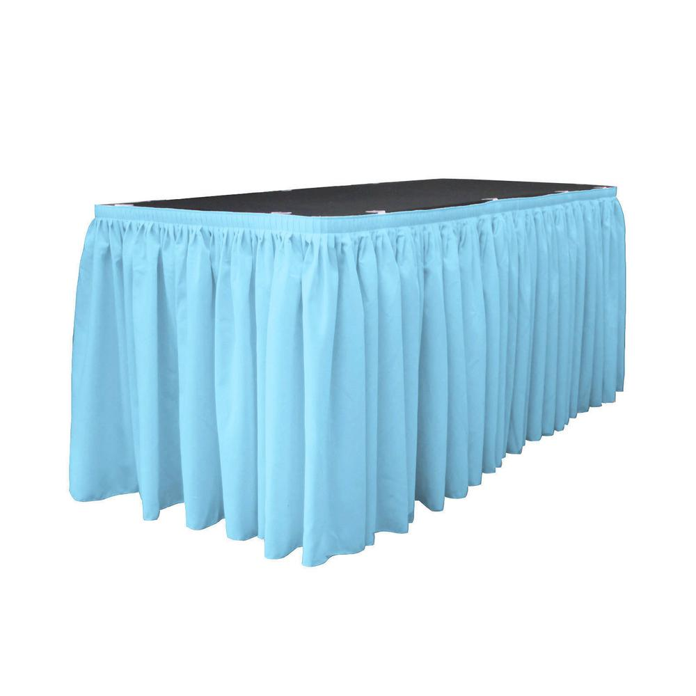 17 ft. x 29 in. Long Light Turquoise Polyester Poplin Table