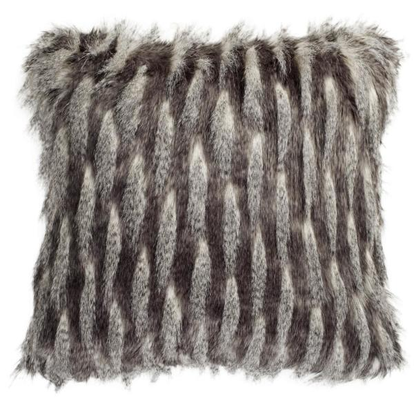 Faux Pheasant Black and Grey Solid Faux Pheasant Down Alternative 20 in. x 20 in. Throw Pillow