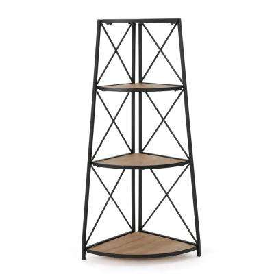 Natural Brown and Black 3-Tier Corner Shelf