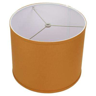 12 in. Top Diameter x 10 in. H x 12 in. Bottom Diameter Linen Gold Drum Lamp Shade