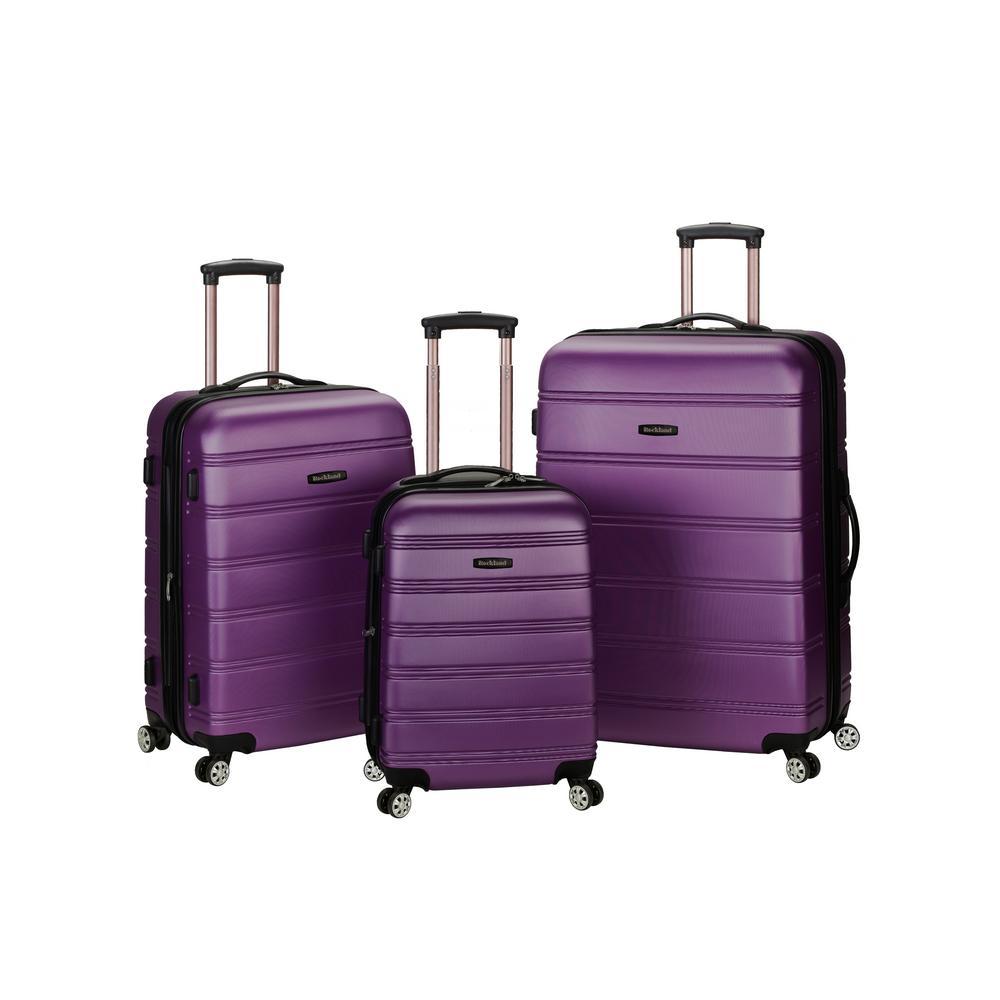 Rockland Melbourne 3-Piece Hardside Spinner Luggage Set, Purple