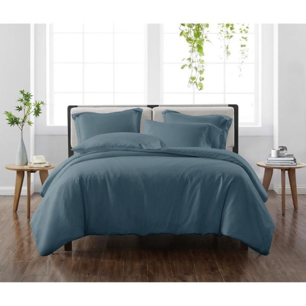 Solid Dark Blue Twin/Twin XL 2-Piece Duvet Cover Set