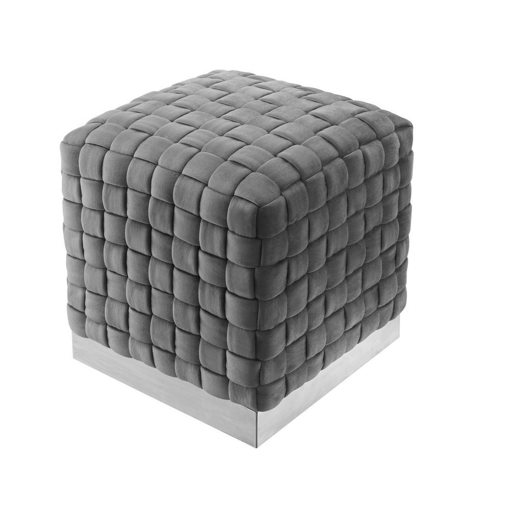 Diamond Grey/Chrome Cube Woven Velvet Ottoman