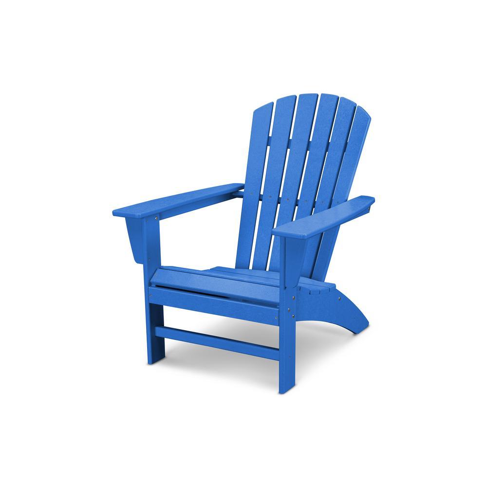 Grant ParkTraditional Curveback Pacific Blue Plastic Outdoor Patio Adirondack Chair