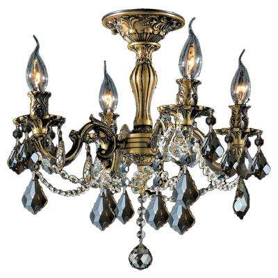 Windsor Collection 4-Light Antique Bronze and French Pendalogue Golden Teak Crystal Semi Flush Mount