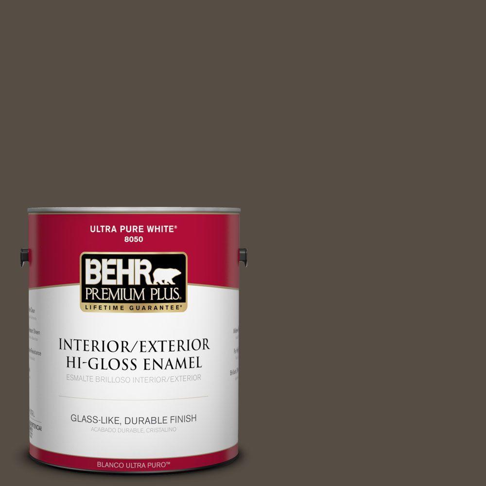 BEHR Premium Plus 1-gal. #S-H-740 Fedora Hi-Gloss Enamel Interior/Exterior Paint