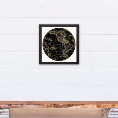 12 in. x 12 in. ''Globe Circle Print 2'' Printed Framed Canvas Wall Art