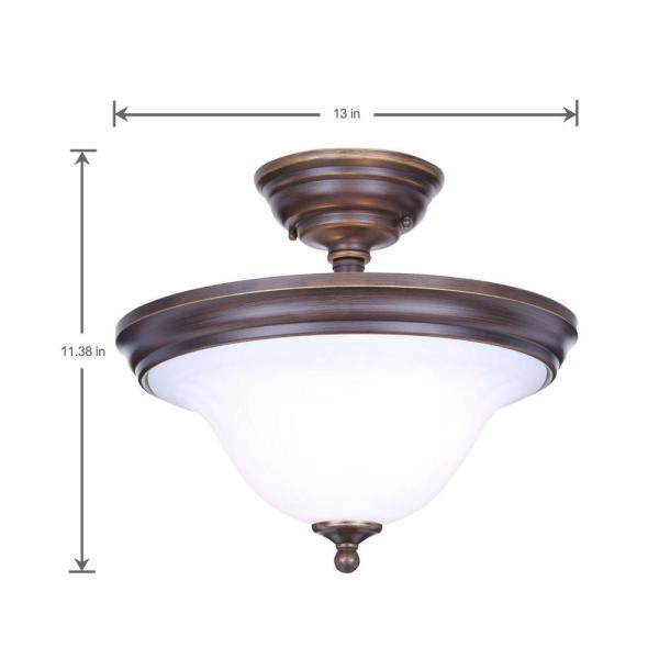 Hampton Bay Somerset 13 In 2 Light Bronze Semi Flush Mount With Bell Shaped Frosted Glass Shades Gex8212a The Home Depot