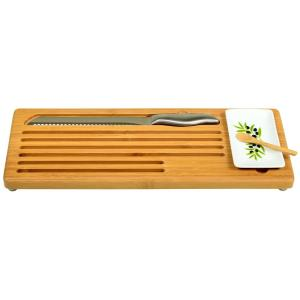 Click here to buy  Bamboo Bread with Bread Knife and Ceramic Butter Dish.