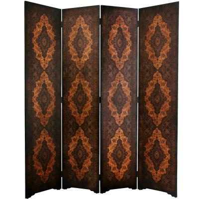 6 ft. Brown 4-Panel Classical Room Divider