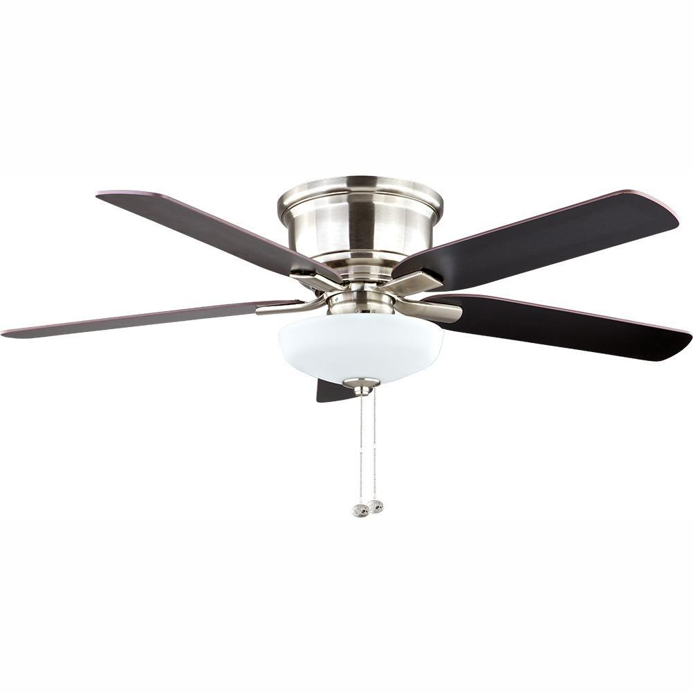 Hampton Bay Holly Springs Low Profile 52 in. LED Indoor Brushed Nickel Ceiling Fan with Light Kit